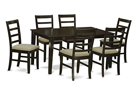 East West Furniture CAPF7-CAP-C 7-Piece Dining Table Set