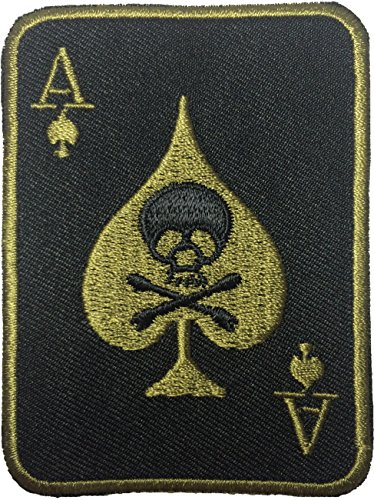 Spade Card Poker Ghost Skull Crossbones Embroidered Iron on Patch (Angel Blade Punish compare prices)
