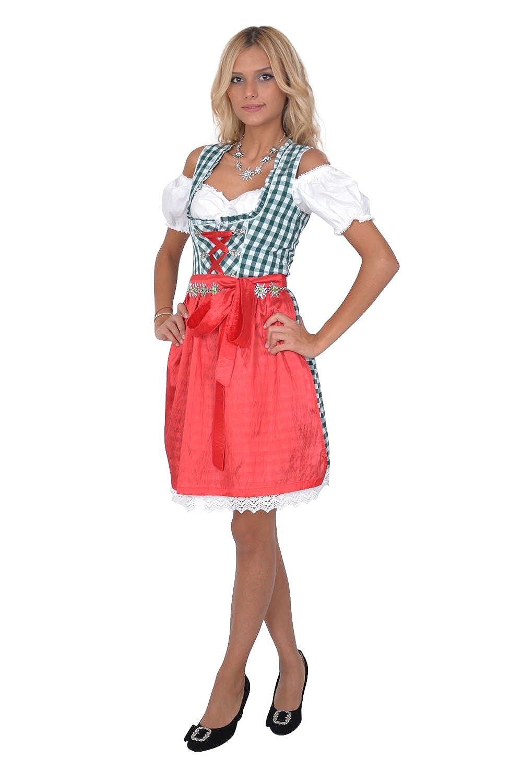 Dirndl Set Trachtenkleid 3tl. Grün Weiß kariert online bestellen
