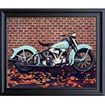 1938 Aqua Harley Davidson Ron Kimball Vintage Motorcycle Wall Black Framed Art Print Picture (19x23)