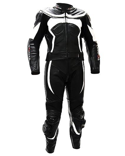 Tschul® Suit en cuir 725 Black/White Combinaison moto en cuir vachette pour homme Piste Doublure Motard Protections noir/blanc