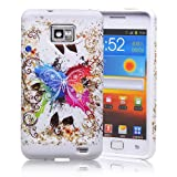 32nd® Design TPU case cover for Samsung Galaxy S2 i9100 + screen protector and cleaning cloth - Fantasy Butterfly