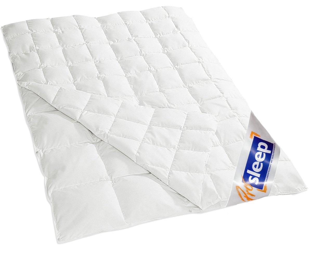 PRO SLEEP  4 Jahreszeitendecke  135x200cm  90% Daune / 10% Federchen  800 gr.  Made in Germany  975.83.001  Kritiken und weitere Informationen
