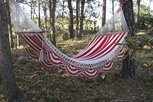 Artisan Handwoven Hammock 13 Ft 2 Person 500 Lbs (Red,white)