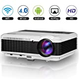 Wireless Bluetooth LED HD Android Projector 3600 Lumens LCD WXGA HDMI Wifi Airplay Wireless Home Theater Proyectors Built-in Speakers for Indoor Outdoor Movies Game TV DVD Blu ray Smartphone Xbox iPad (Color: 3600 Lumens Android Bluetooth Projector)