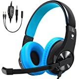 Bovon Gaming Headset for PS4, Xbox One (Adapter Needed for old version), Lightweight Stereo Over Ear Headphones with Mic, Volume Control, Noise Isolation, 3.5mm Jack for Smart phones Laptop PC Mac (Color: Blue)