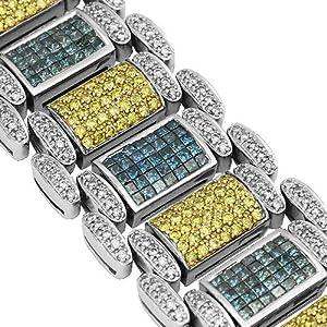 14K White Gold Mens Diamond Bracelet with Yellow and Blue Diamonds 26.18 Ctw