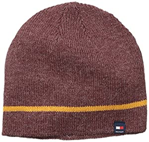 Tommy Hilfiger Men's One Stripe Beanie, Burgundy, One Size