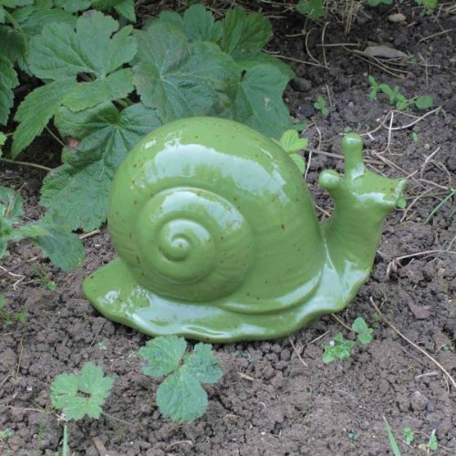 Detailed Glazed Green & Speckled Terracotta Snail Garden Ornament