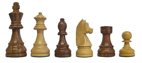 SchachQueen - pièces d'échecs en bois de la ligue fédérale classique marron/blanc hauteur du roi 97 mm