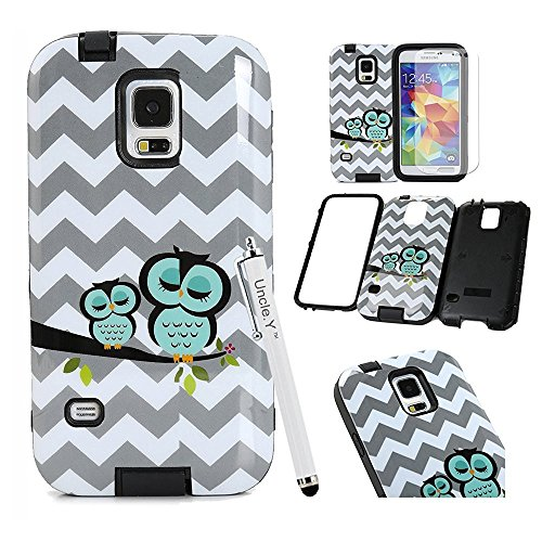 Galaxy S5 Case,S5 Case,&Uncle.Y Cute Owl Hybrid TPU Silicone Soft + PC Hard Plastic Bumper Back Protective Skin Case for Samsung Galaxy S5 I9600 Black (Cute Protective S5 Case compare prices)