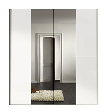 Solutions 04660-070 Schwebeturenschrank 2-turig Korpus und Front Polarweiß, Spiegel, Griffleisten alufarben, 68 x 200 x 216 cm