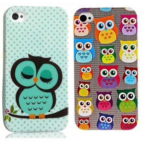 Vandot 2 In1 Accessory Set Apple Iphone 4 4S Colorful Ultra Thin Slim Hard Silicone Case Night Owl Small Hard Case Cover Skin Protection Cute Case Back Shell 3D Sweet Polka Dot Cover Hybrid - Light Green, Blue, Purple, Pink, Red, Yellow front-667466