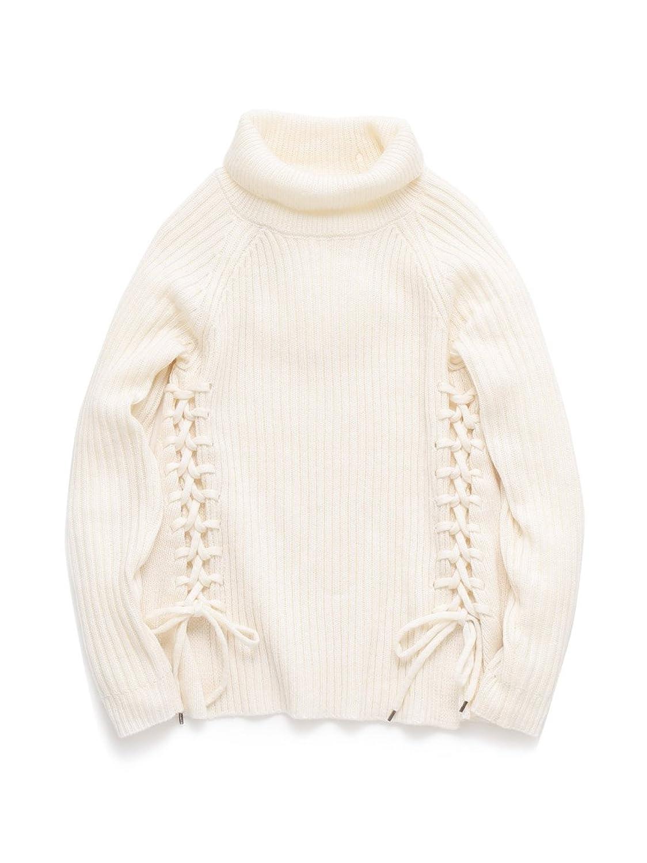 (リリーブラウン)Lily Brown 編み上げニットプルオーバー LWNT155025 2 OWHT F : 服&ファッション小物通販 | Amazon.co.jp
