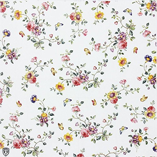 Floral Paper Napkins, Alink Spring Flower Design Vintage Luncheo Bandana Napkins Serviettes, 20 Count for Wedding, Dinner Tea Party