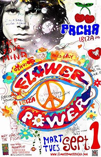 Flower Power @ Pacha Ibiza 1 Settembre 2015 Poster - Bianco, Taglia Unica