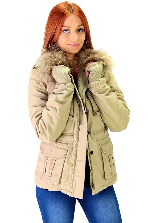 Coole Winterjacke mit Echtfell Beige