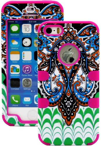 Mylife (Tm) Rose Pink - Retro Paisley Series (Neo Hypergrip Flex Gel) 3 Piece Case For Iphone 5/5S (5G) 5Th Generation Itouch Smartphone By Apple (External 2 Piece Fitted On Hard Rubberized Plates + Internal Soft Silicone Easy Grip Bumper Gel + Lifetime W