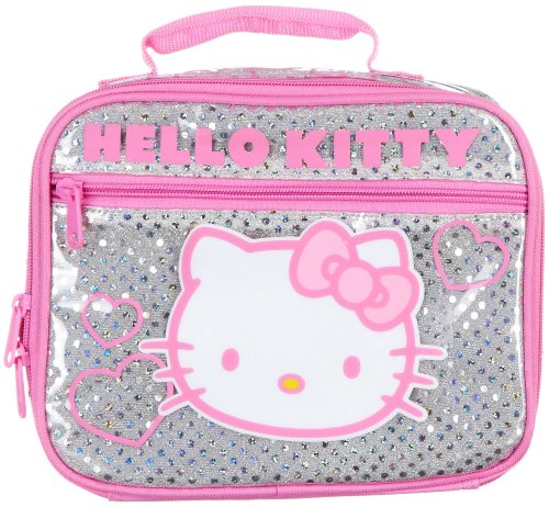Sanrio Hello Kitty Insulated Silver Glittering Lunchbox Lunch LunchBag Bag Tote NEW