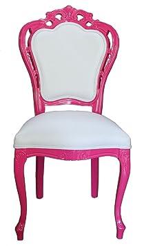 Casa Padrino de lujo barroco Cena Presidente en blanco / rosa - Silla design - calidad de lujo