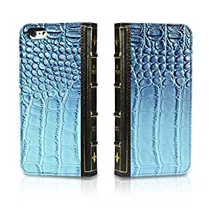 """EC Technology® PU Leather Wallet Book Cover with Credit Card ID Holders for Iphone 6 4.7"""" -Blue"""