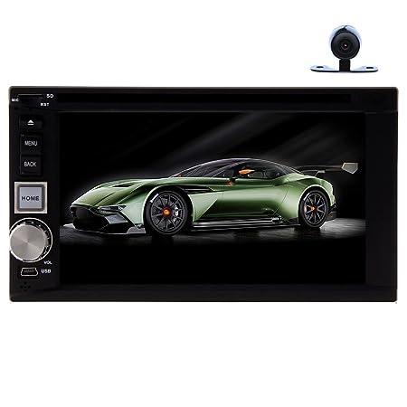 Universel en Dash 15,7cm Lecteur DVD stéréo de voiture avec écran tactile GPS Navigation Radio Audio Bluetooth pour iPod/MP3/MP4/USB/BT/SD/Antenne/volant/Support de montage + HD Caméra arrière comme cadeau