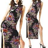 大胆な両サイドスリット綺麗な和柄チャイナドレス黒nc33