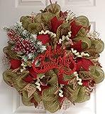 Merry Christmas Natural Green Burlap Deco Mesh Handmade Wreath