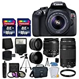 Canon EOS Rebel T6 Digital SLR Camera + Canon 18-55mm EF-S f 3.5-5.6 IS II Lens & EF 75-300mm f 4-5.6 III Lens + Wide Angle Lens + 58mm 2x Lens + Auto Power Flash + 32GB SDHC Card + Accessory Bundle