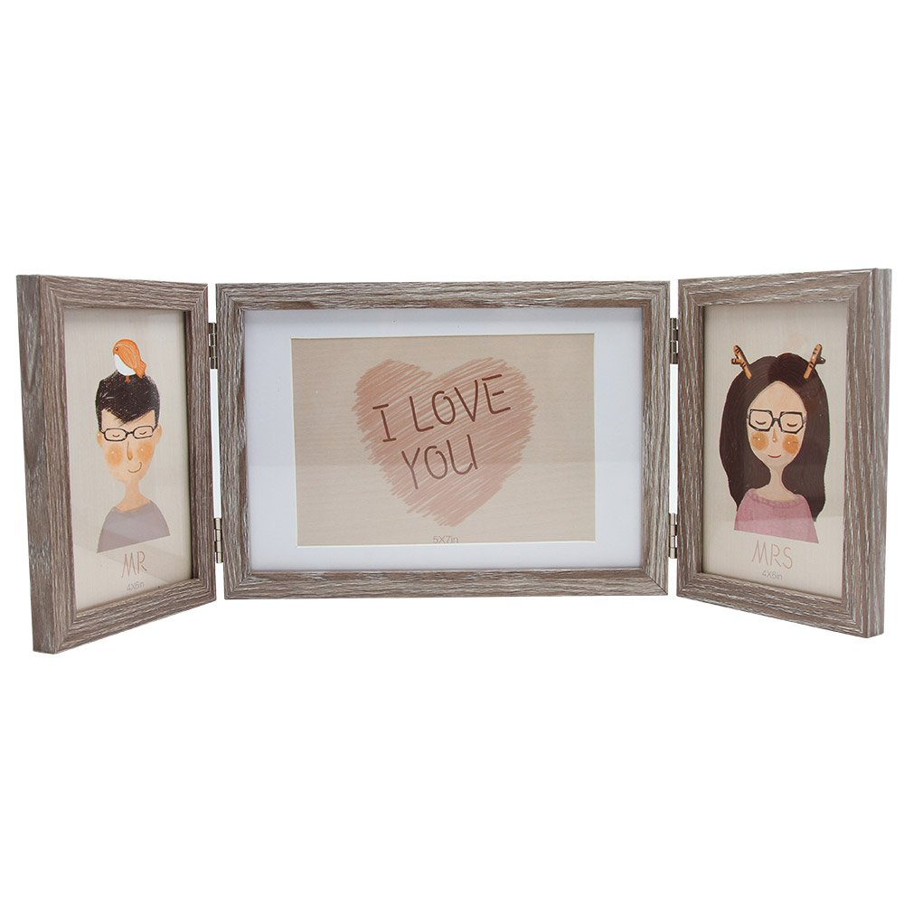 SUMGAR Wooden Three Picture Frame for Desk 4x6 and 5x7 Triple Hinged ...