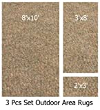 Indoor-Outdoor Winter Wheat, 3 Piece Set, Patio Rug's (8x10 Area Rug, 3x8 Runner, 2x3 Mat)