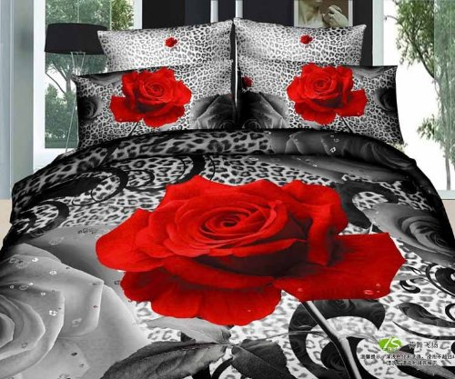 Queen Size 100% Cotton 4-Pieces 3D Unique Big Red Rose Black Leopard Skin Floral Prints Duvet Cover Set/Bed Linens/Bed Sheet Sets/Bedclothes/Bedding Sets/Bed Sets/Bed Covers/5-Pieces Comforter Sets (5) front-1021125