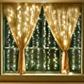 Leapair Curtain Lights 300 LED 9.8 x 9.8Ft (3M x 3M) Pure White 6000K Outdoor DIY String Light Curtain Light for Christmas Xmas Wedding Party Home Decoration 110V with Memory Function