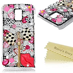 Galaxy S5 Active Case - Mavis\'s Diary 3D Handmade Bling Crytal Fashion Bow with Tassel Sexy Lips Shiny Rhinestone Sparkle Diamonds Design Clear Case Hard PC Cover for Samsung Galaxy S5 Active SM-G870A