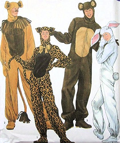 [Simplicity sewing pattern 5430 Adult animal costumes: lion, cheetah, bear, rabbit - Size S-M-L] (Rabbit Costume Pattern)