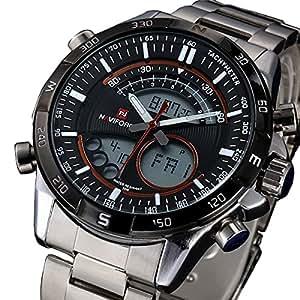 2015 NAVIFORCE Luxury Brand Full Steel Watch Men Quartz Waterproof Watch Men Sports Watch Analog Digital LED Watch available at Amazon for Rs.1806.0500488281