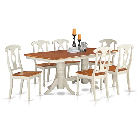 East West Furniture NAKE9-WHI-W 9-Piece Dining Table Set