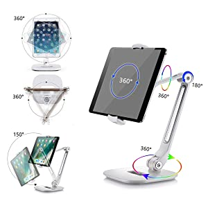 iPad Homeleader Aluminum Tablet Stand Adjustable iPad Stand with 360/°Swivel iPhone Folding Tablet Holder fits 4-11 Tablets//Smartphones for Samsung Kindle