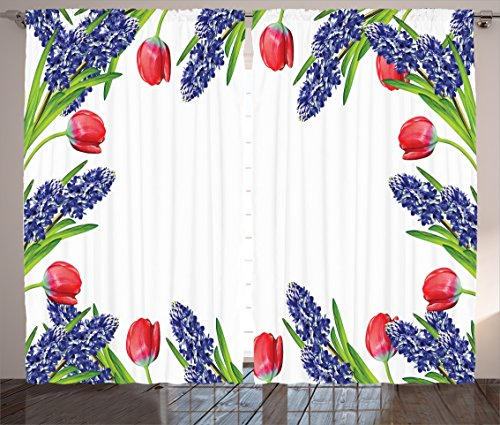 Flower Decorations Curtains by Ambesonne, Vibrant Bright Rising Up Cup Shaped Tulips Setting Early Summer Plants Decor, Living Room Bedroom Decor, 2 Panel Set, 108W X 84L Inches, Red Purple Green