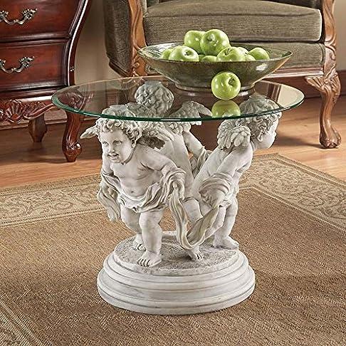 Design Toscano KY4114 Tavolo con Ripiano Scultura Cherubini del Bernini, Beige, 61x61x45.5 cm