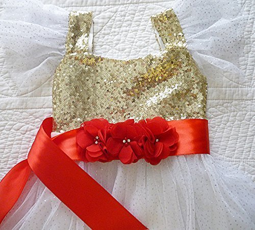 Girl's Satin Ribbon Floral Sash/Belt, Baby's Satin Ribbon Triple Flower Chiffon Floral Ribbon Sash, Girl's Red Christmas Sash, Baby Red Christmas Sash, Flower Girl Dress Sash/Belt