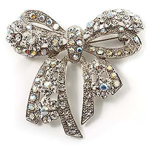 Stunning Swarovski Crystal Bow Brooch (Silver Tone)
