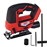 Dobetter Cordless Jig Saw for Woodworking Variable Speed Jigsaw Tool 20V Saber Saw -DBCJS20 (Battery and Charger Are Not Contained) (Color: Light red black)