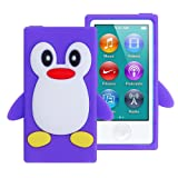 iPod Nano 7 Case, iPod Nano 8 Case, FiveBox 3d Penguin Soft Silicone Rubber Skin Case Cover for Apple iPod Nano 7th 8th Generation 7G 16GB(Purple) (Color: Purple)