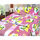 Cosmosgalaxy Cotton Double Bedsheet With Pillow Covers - Queen Size, Multicolor - B00SWKMMB0