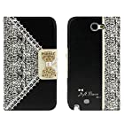 ABC Black Fashion Girl Woman Fresh Sweet Cute Flip Wallet Leather Case Cover for Samsung Galaxy Note 2 N7100