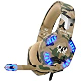 VersionTECH. Stereo Gaming Headset for PS4 Xbox One Controller, Noise Reduction Over Ear Headphones with Mic, Bass Surround & LED Lights for Laptop PC Mac PS3 and Nintendo Switch Games - Camo (Color: Camo, Tamaño: General type)
