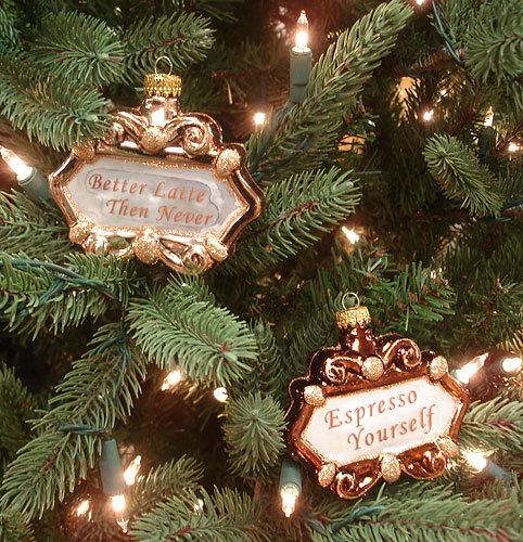 coffee sign Christmas tree ornaments - Set Of 2 Coffee Lover Idioms Glass Christmas Ornaments