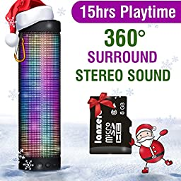 MUSIC ANGEL ® Portable Wireless Bluetooth Speakers 4800mAh Rechargeable Battery for 15 Hours Playtime Bluetooth Speaker Five LED Display Mode Powerful DSP Sound 4.0 Technology with Build in Microphone for Indoor/Outdoor/Shower Usage