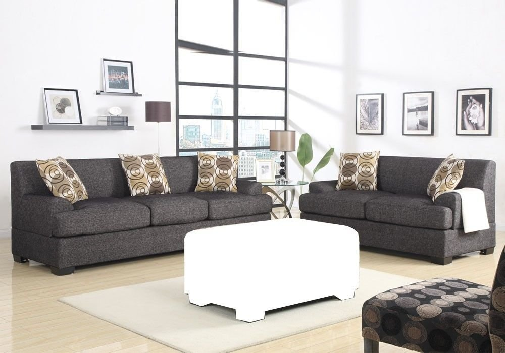 1PerfectChoice Sectional Reversible Chaise Sofa Loveseat Couch Blended Linen Ask Black Option